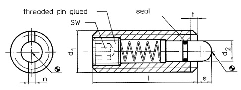 Spring Plungers with Internal Hexagon and Seal diagram